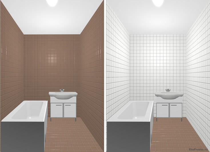 Белая ванная с коричневым полом. интерьер маленькой ванной комнаты