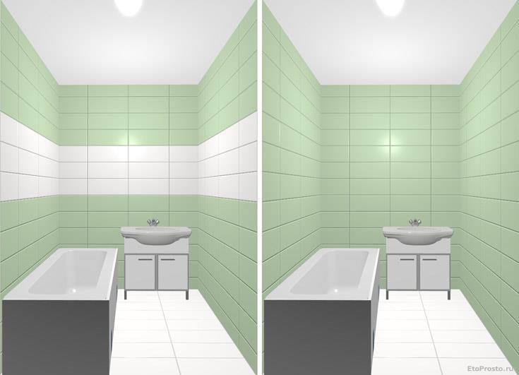 Интерьер маленькой ванной комнаты. Моделирование дизайна