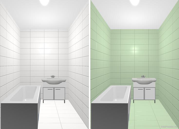Прямоугольная плитка среднего формата дл маленькой ванной комнаты