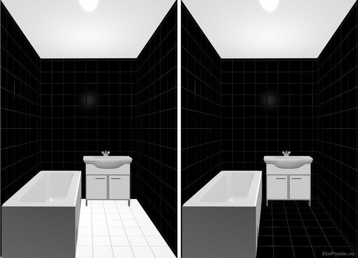Черно-белая плитка 20х20 для маленькой ванной комнаты
