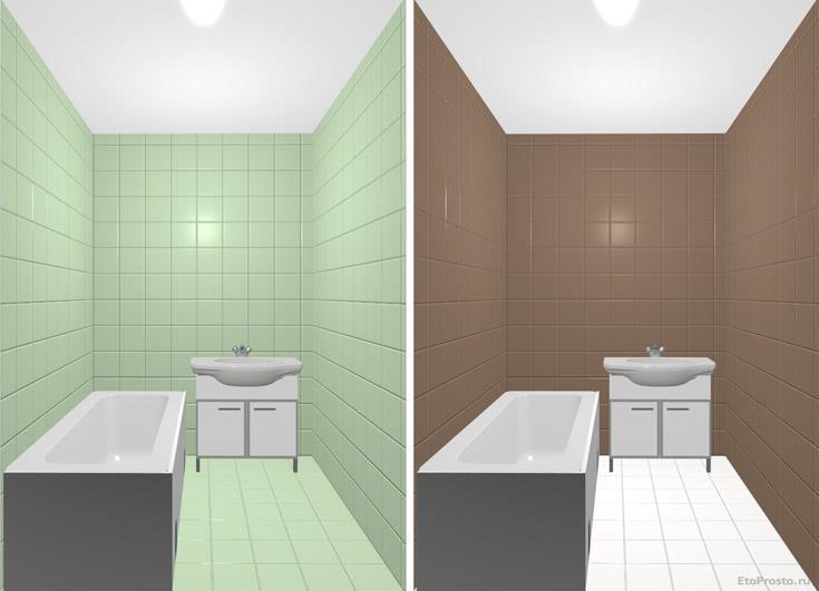 Сравнение ванных комнат разных цветов. Варианты плитки для маленькой ванной комнаты