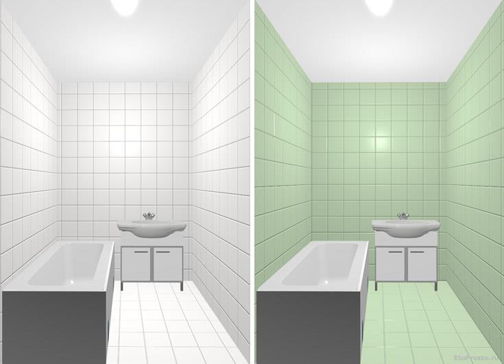 Плитка зеленого цвета для маленькой ванной. Варианты раскладки в интерьере