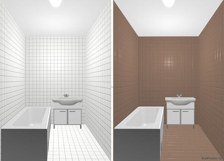Белая плитка или коричневая плитка для маленькой ванной комнаты. Фотография интерьера