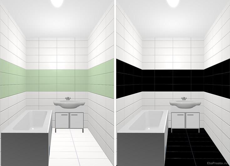 Дизайн маленькой ванной комнаты в зеленом и черном цвете