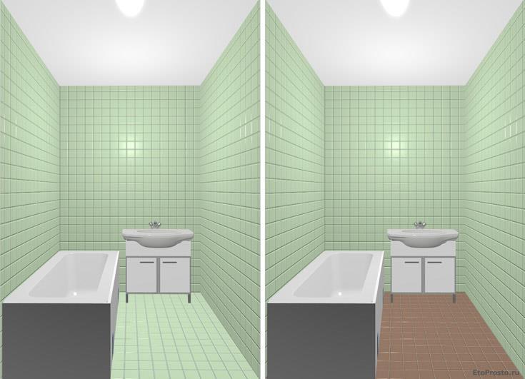 Зеленая ванная комната с коричневым полом. Интерьер маленькой ванны