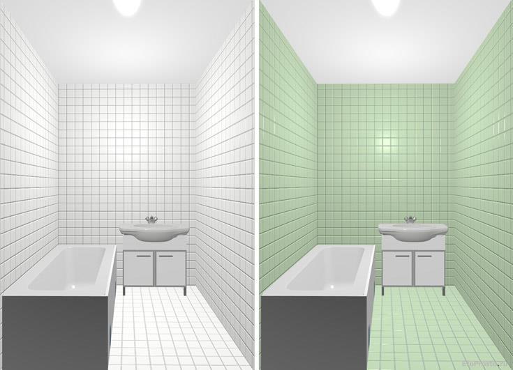 Белая и зеленая плитка маленького размера для маленькой ванной. Сравнение фотоэксперимент