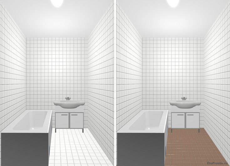 Ванная комната с коричневым полом. Плитка 10х10 в интерьере маленькой комнаты