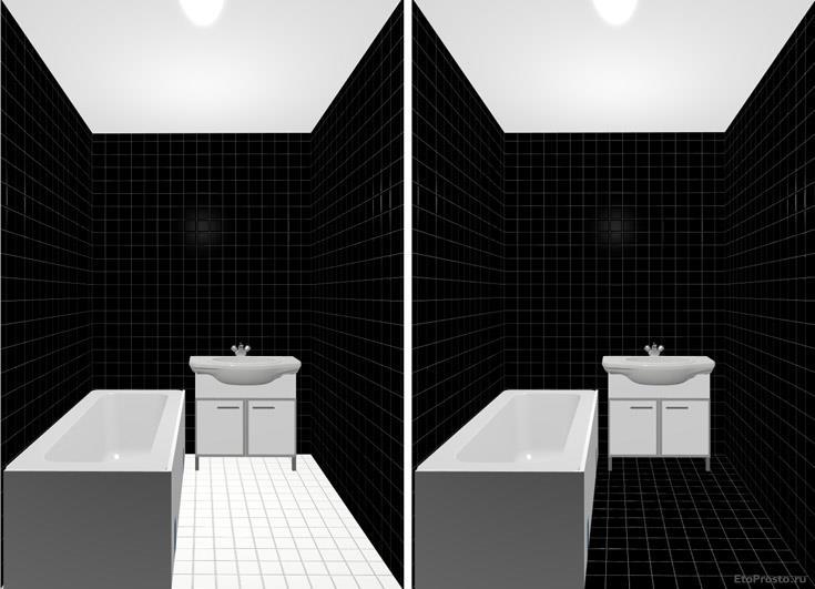 Бело-черная плитка в маленькой ванной комнате. дизайн интерьера