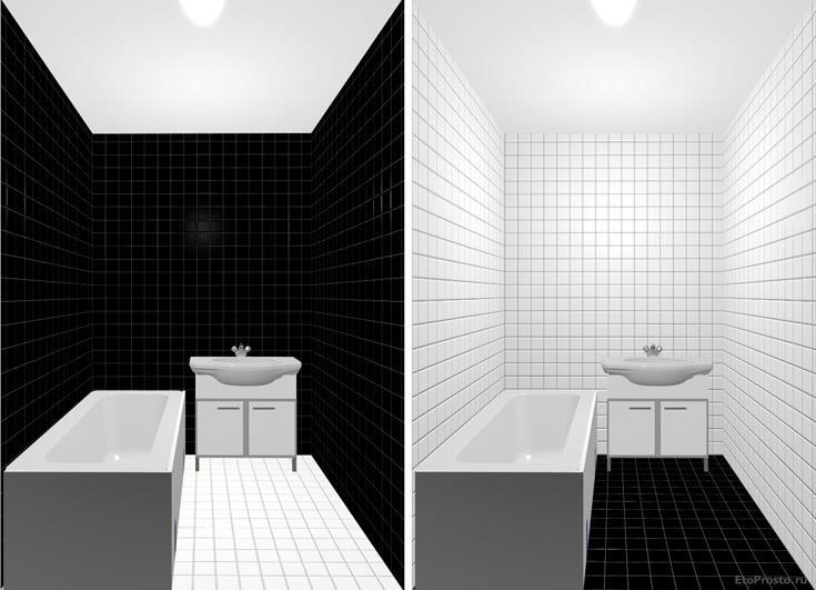 Варианты дизайна маленькой ванной комнаты в черно-белых цветах