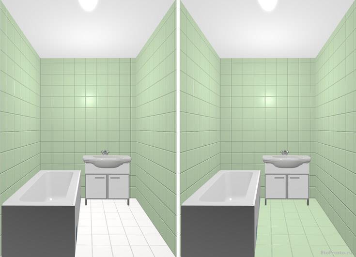 Светлый пол расширяет пространство в маленькой ванной комнате