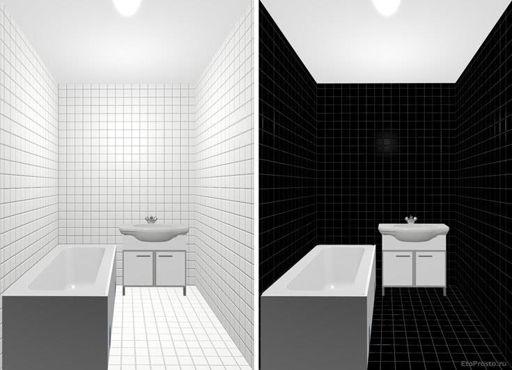 Черно-белая плитка для маленькой ванной комнаты. Проект интерьера