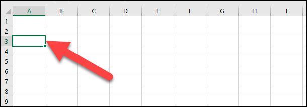 Microsoft Excel. Щелкните первую ячейку в диапазоне