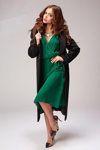 Длинное черное пальто Teresa Tardia с английским воротником