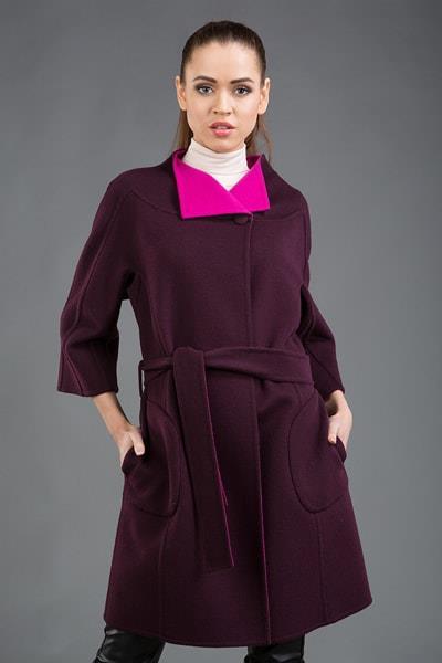 Бордовое женское пальто Teresa Tardia с дизайнерским воротничком