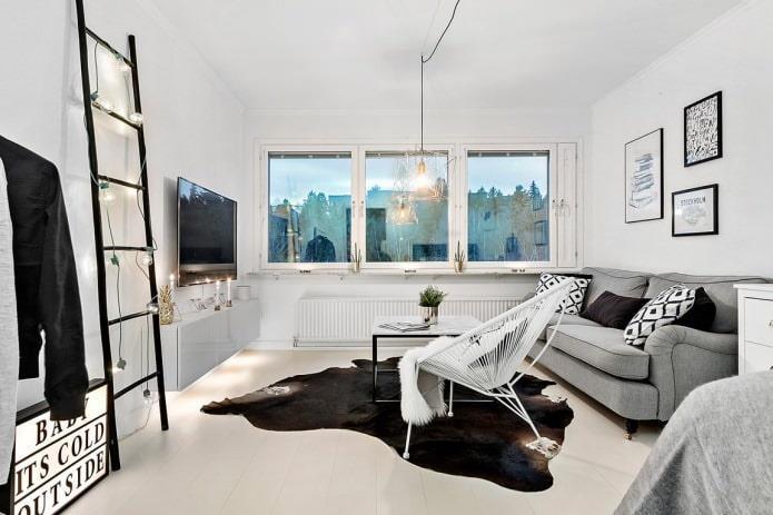 светлое напольное покрытие в интерьере в скандинавском стиле