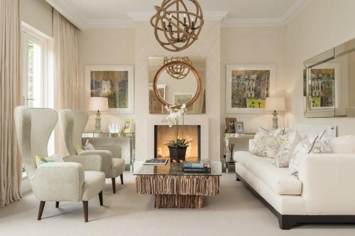 белый пол в гостиной