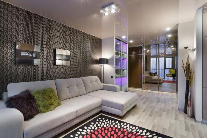 светлый пол и темные стены в гостиной