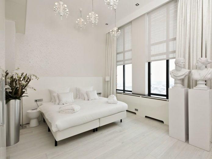 светлое напольное покрытие в современном интерьере спальни