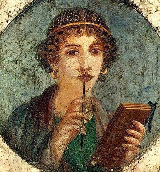 Молодая женщина со стилусом. Фреска; Помпеи, 1 век. Изображение с сайта epodreczniki.pl