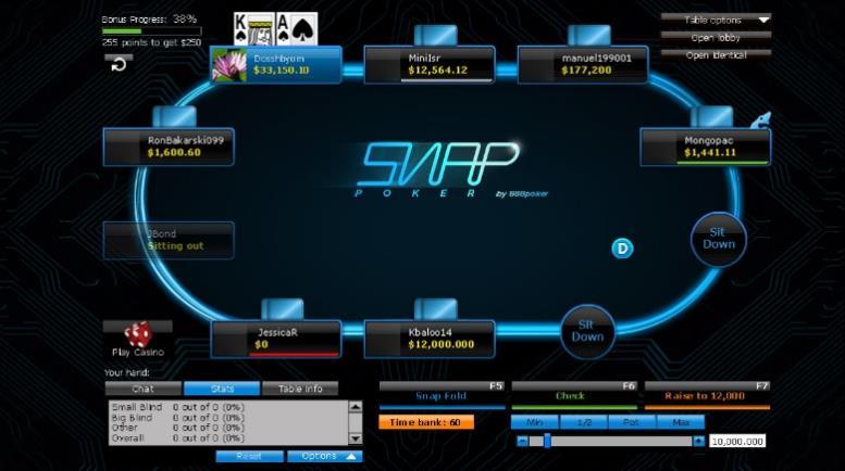 Скриншот стола для SNAP-покера на 888