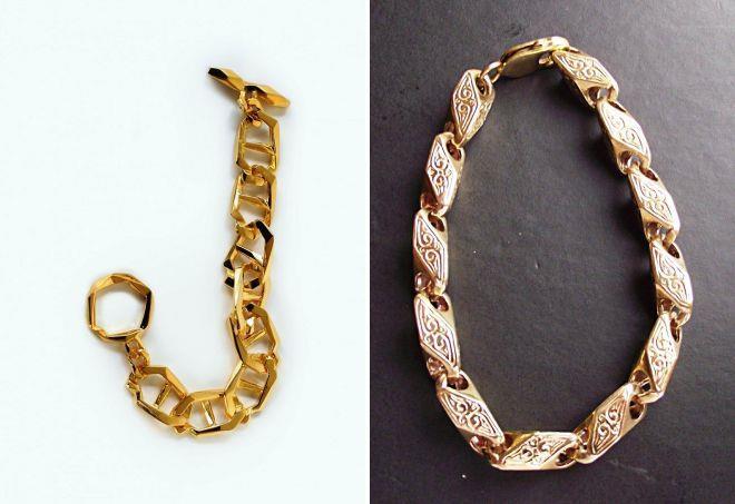 женский литой золотой браслет