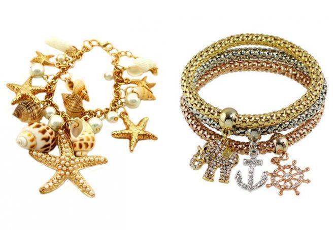женские золотые браслеты с подвесками на руку