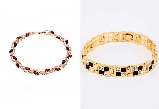 женские золотые браслеты с камнями