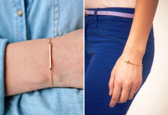 женский золотой тонкий браслет на руку
