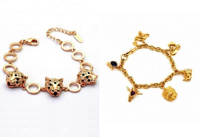 женские браслеты на руку с головами животных