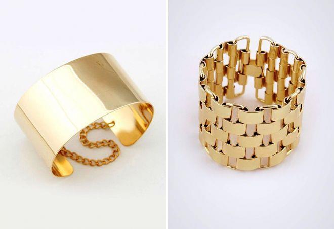 женские широкие золотые браслеты