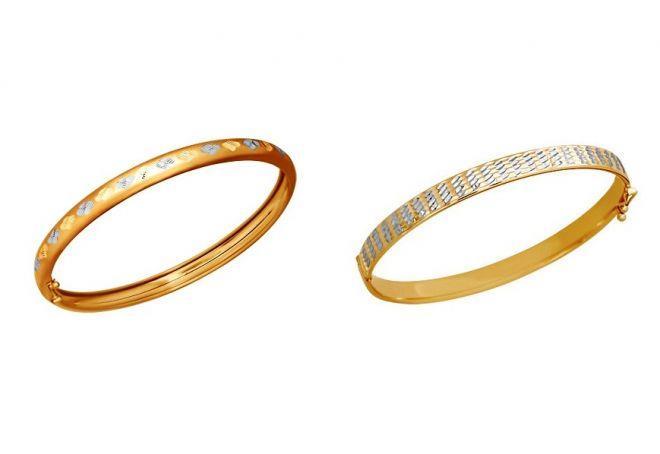 жесткий женский золотой браслет