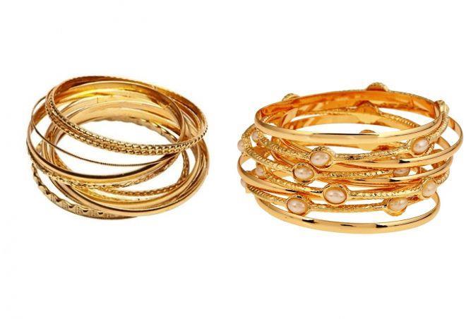 женские золотые браслеты обручи на руку