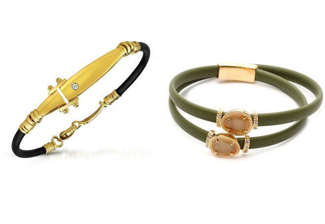 женский каучуковый браслет с золотом