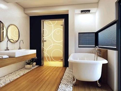 Стеклянная дверь в ванной комнате (фото)
