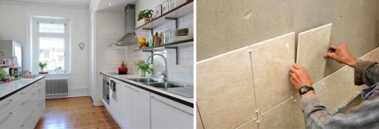 керамическая плитка на стенах кухни